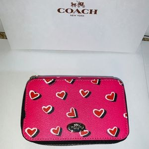 NWT Coach Leather Heart Travel Jewelry Box